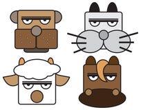 动物面孔集合的传染媒介例证。 免版税库存照片