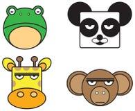 动物面孔集合的传染媒介例证。 免版税库存图片