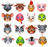 动物顶头动画片汇集集合 免版税库存照片
