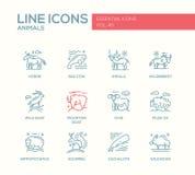动物-线被设置的设计象 免版税库存图片