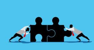动画两商人合作工作在蓝色屏幕背景 向量例证