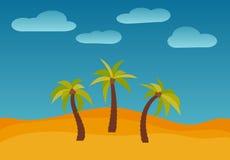 动画片与三棵棕榈的自然风景在沙漠 库存照片