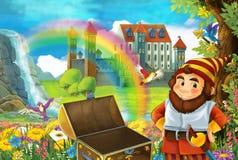 动画片与矮人的童话当中场面充分领域的在木胸口小瀑布五颜六色的彩虹和双附近的花 皇族释放例证