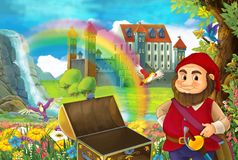 动画片与矮人的童话当中场面充分领域的在木胸口小瀑布五颜六色的彩虹和双附近的花 库存例证