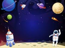 动画片与空的空间的空间背景在中部 党的,贺卡,邀请传染媒介宇宙例证, 皇族释放例证
