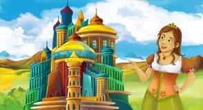 动画片与美丽的女孩的童话场面-站立在城堡前面 皇族释放例证
