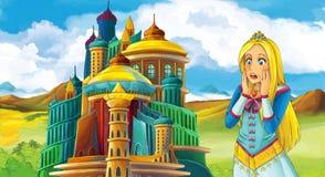 动画片与美丽的女孩的童话场面-站立在城堡前面 库存例证