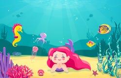 动画片与鱼,岩石,珊瑚,海星,章鱼,海马,海草,珍珠,水母的美人鱼背景 水下 免版税库存图片