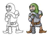 动画片中世纪锁子甲战士用钉头锤,隔绝在白色背景 免版税库存照片