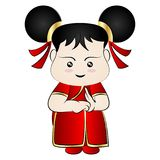 动画片中国人女孩 免版税库存图片