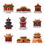 动画片中国房子图标集 免版税库存照片