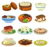 动画片中国食物图标 免版税库存照片