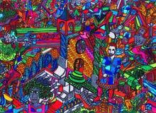 动画片五颜六色的被画的现有量 图库摄影
