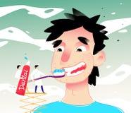 动画片人清洁牙的例证 也corel凹道例证向量 男孩刷他的有浆糊的牙 图象被隔绝  库存图片