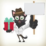 动画片企业拿着礼物bo的字符猫的例证 免版税库存图片