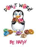动画片企鹅的传染媒介例证与油炸圈饼的 库存照片