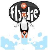 动画片企鹅飞行喜欢有火焰的一枚火箭从他的驴子 免版税库存照片