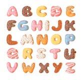 动画片传染媒介例证多福饼 手拉的字体用甜小圆面包 实际创造性的艺术烘烤字母表 向量例证