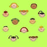 动画片儿童面孔象 免版税库存图片