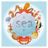 动画片光海洋背景 向量例证