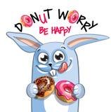 动画片兔子的传染媒介例证与油炸圈饼的 库存图片