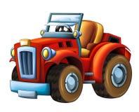 动画片农用拖拉机挖掘机-在白色背景 库存例证
