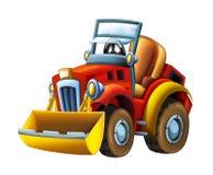 动画片农用拖拉机挖掘机-在白色背景 向量例证