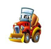 动画片农用拖拉机挖掘机-在白色背景 皇族释放例证