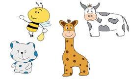 动画片动物小的蜂熊长颈鹿和母牛 免版税图库摄影