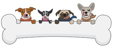 动画片动物狗逗人喜爱与骨头例证动物滑稽宠物的婴孩 向量例证