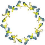 动画片北美山雀春天鸟五颜六色的花圈装饰品 库存例证