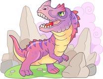 动画片史前恐龙角鼻龙,滑稽的例证 免版税库存图片
