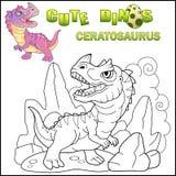动画片史前恐龙角鼻龙,滑稽的例证 图库摄影