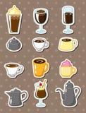 动画片咖啡贴纸 免版税图库摄影
