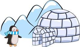 动画片园屋顶的小屋和企鹅的传染媒介例证 库存图片