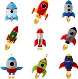 动画片图标太空飞船 免版税库存照片