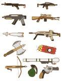 动画片图标武器 皇族释放例证