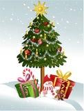 动画片圣诞树 库存例证