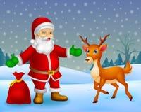 动画片圣诞老人和动画片鹿有背景 库存例证
