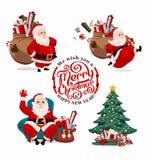 动画片圣诞老人的汇集 免版税库存图片