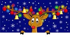动画片圣诞节鹿滑稽的闪亮指示 免版税库存图片