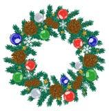 动画片在白色背景的装饰的圣诞节花圈 也corel凹道例证向量 库存照片