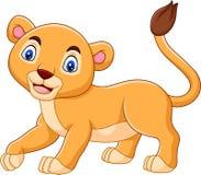 动画片在白色背景隔绝的小雌狮 向量例证