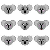 动画片在白色背景隔绝的考拉面孔的汇集 不同的情感,表示 传染媒介illustation 向量例证
