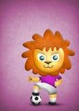 动画片在空白背景的逗人喜爱的狮子、纸张和织品纹理isolatet 免版税库存照片