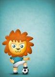 动画片在蓝色纹理背景的逗人喜爱的狮子、纸张和织品纹理 免版税图库摄影