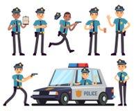 动画片在警察一致的传染媒介集合的女警和警察字符 库存图片