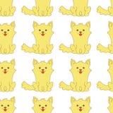 动画片坐无缝的样式的小狗小狗 也corel凹道例证向量 皇族释放例证