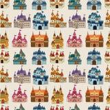 动画片城堡神仙的模式无缝的传说 免版税图库摄影