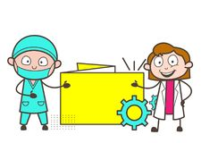 动画片外科医生和女性Showing Info Banner Vector医生例证 免版税库存图片